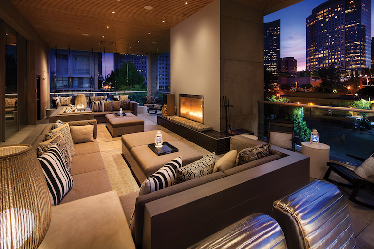 W Living Room Bar  Porch  The Bellevue Collection