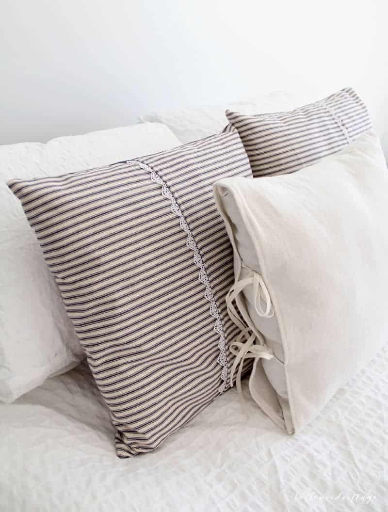 Farmhouse Inspired Ticking Pillow Covers  Bellewood Cottage