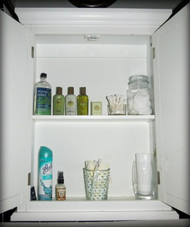 Tips for Hosting Overnight Guests - Bathroom cabinet