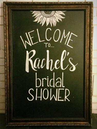 large framed chalkboard rachels bridal shower