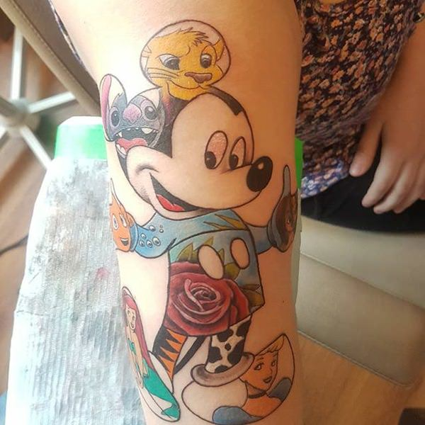 Outline Small Mickey Mouse Tattoo