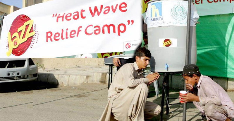 Heat-Wave Relief Camps setup by Jazz and Voice of Karachi