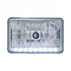 "United Pacific 4"" x 6"" Crystal Headlight w/ 9 White LED Position Light - High Beam"