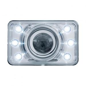 "United Pacific 4"" x 6"" Crystal Projection Headlight w/ 6 White LED Position Light"