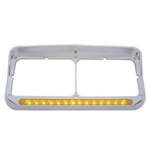 United Pacific 14 LED Rectangular Dual Headlight Bezel w/ Visor - Amber LED/Amber Lens