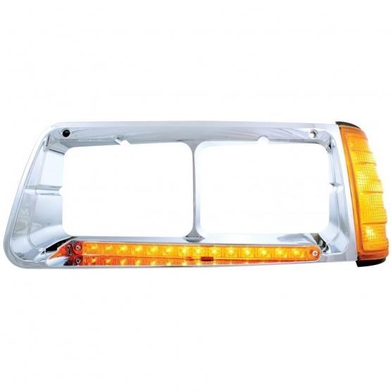 United Pacific 14 LED Freightliner FLD Headlight Bezel w/ Turn Signal-  Amber LED/Amber Lens