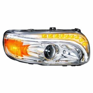 United Pacific Chrome Projection Headlight w/ LED Position & LED Turn Signal For 2008+ Peterbilt 388/389