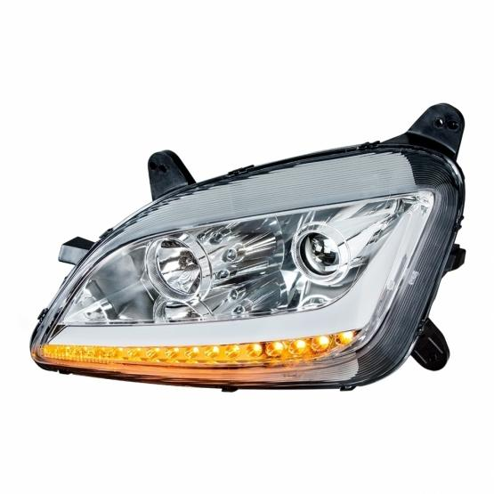 United Pacific Blackout Projection Headlight w/ LED Position & Turn Signal Light For 2008+ Peterbilt 388/389Chrome Projection Headlight w/ LED Position Light & LED Turn Signal For 2011+ Peterbilt 579/587- Driver