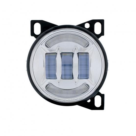 "United Pacific 4 1/4"" Chrome Round LED Fog Light with LED Position Light Bar - Off"