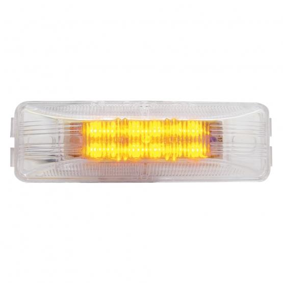United Pacific 12 LED rectangular Clearance/Marker Light- Amber LED/Clear Lens- On