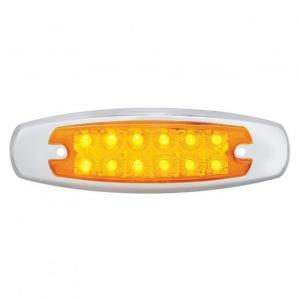 Bells-And-Whistles-Chrome-Shop-Trucks-Aftermarket-Accessories-Lighting-United Pacific-12 LED Reflector Rectangular Marker Light Amber LED Amber Lens-Peterbilt-Kenworth-Freightliner-Mack-Volvo-Lonestar