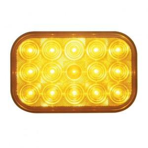 United Pacific 15 LED Rectangular Turn Signal Light - Amber LED/Amber Lens- On