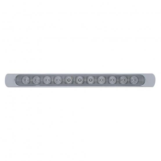 """United Pacific 11 LED 17"""" Stop, Turn & Tail Light Bar w/ Bezel - Red LED/Clear Lens"""