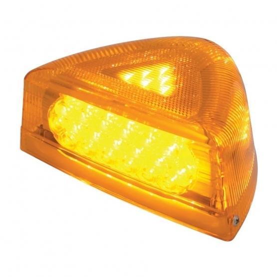 United Pacific 37 LED Peterbilt Turn Signal Light w/ Chrome Base - Amber LED/Amber Lens