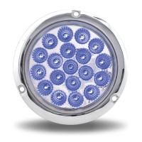 "Trux Acccessories- 4"" Red Stop, Turn & Tail to Blue Auxiliary LED Light with Flange Mount- Blue"