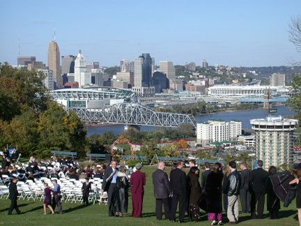 Sara and Dave Specter got married on a hill overlooking Cincinnati.