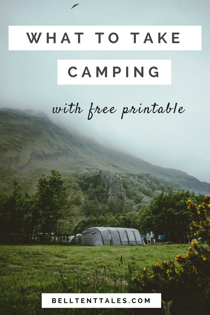 Tent with hills and mist in the background and text overlay 'What to take camping' Camping List