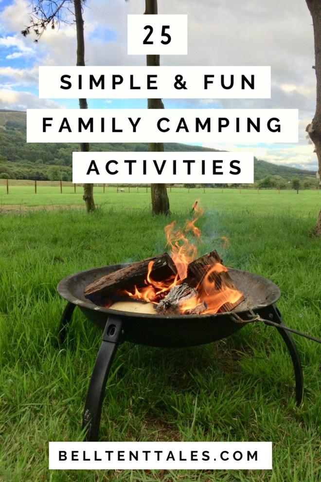 fun family camping | campfire in fire bowl