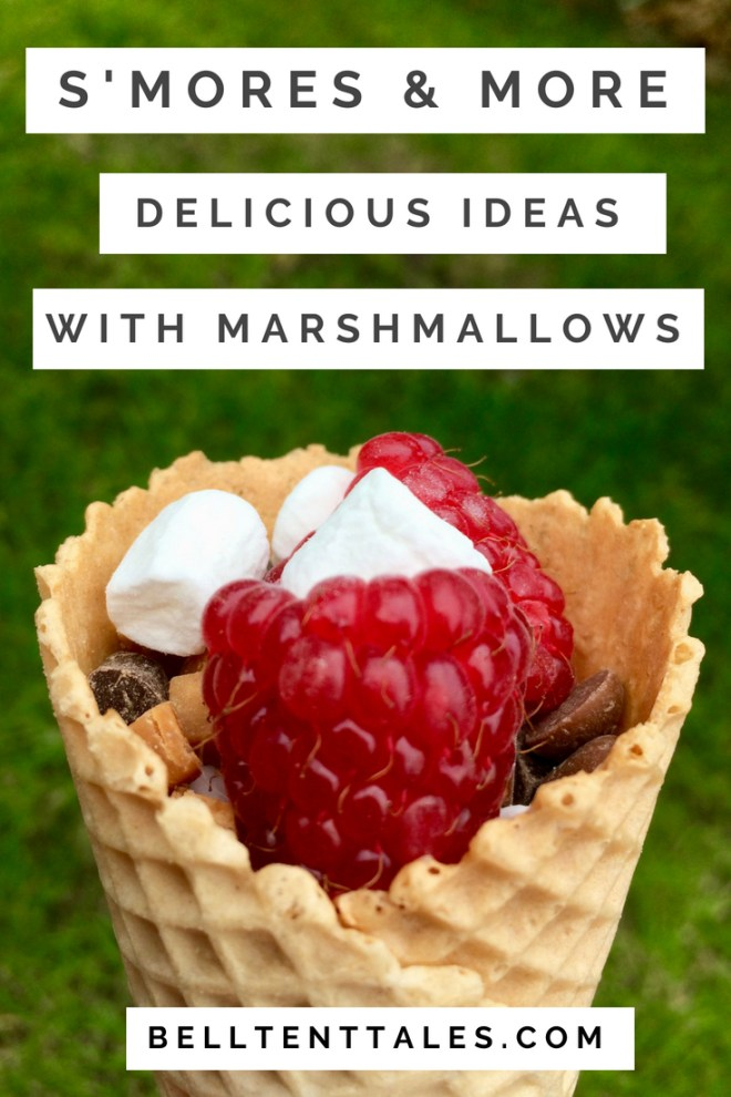 Waffle cone with marshmallows, raspberries and chocolate