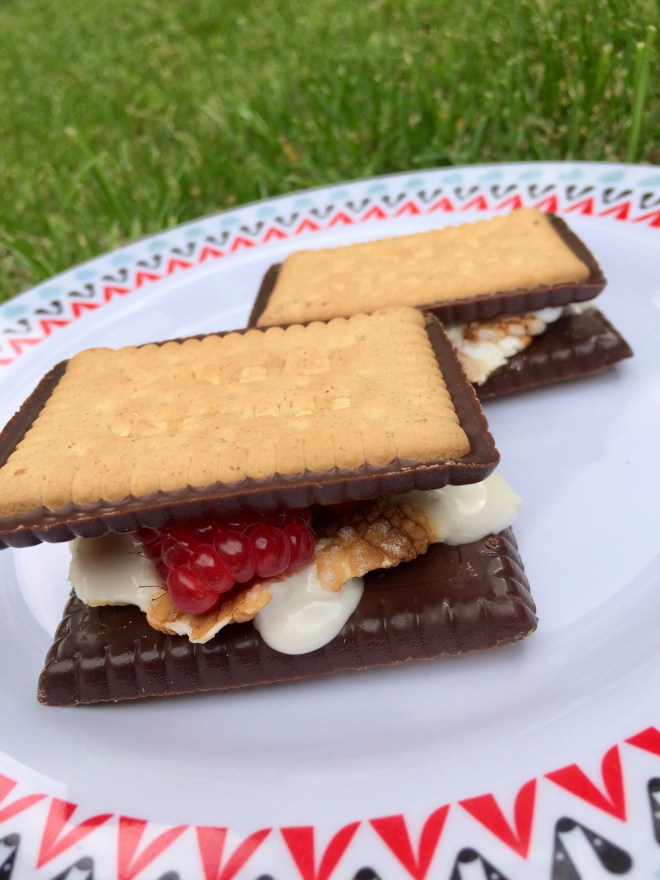 S'mores made with chocolate Leibniz and marshmallows