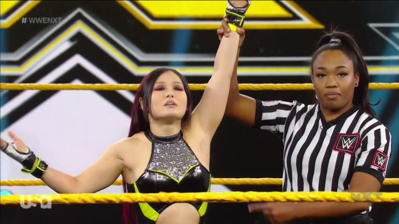 Io Shirai returns to NXT to qualify for the ladder match