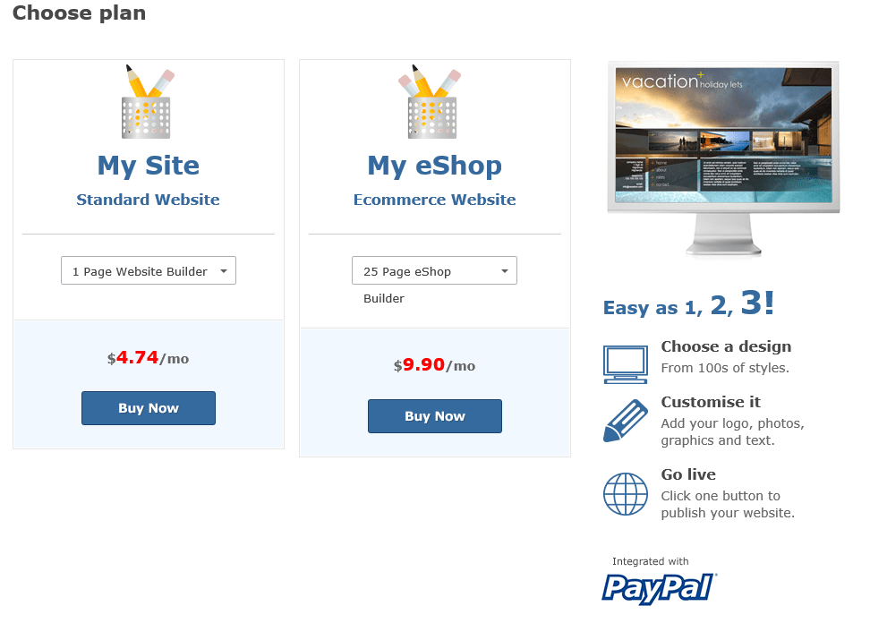 website builder plans