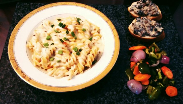 Bellydriven's Fusilli Alfredo with Mushroom crostini and Herbed vegetables