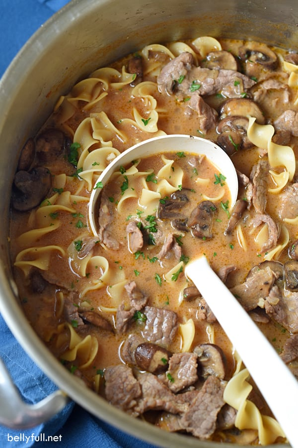 Beef Stroganoff One-Pot Soup Recipe | Belly Full - Classic beef stroganoff is transformed into a hearty, yet light soup. And no need to cook the noodles first, because it's all made in one pot. Easy weeknight dinner!