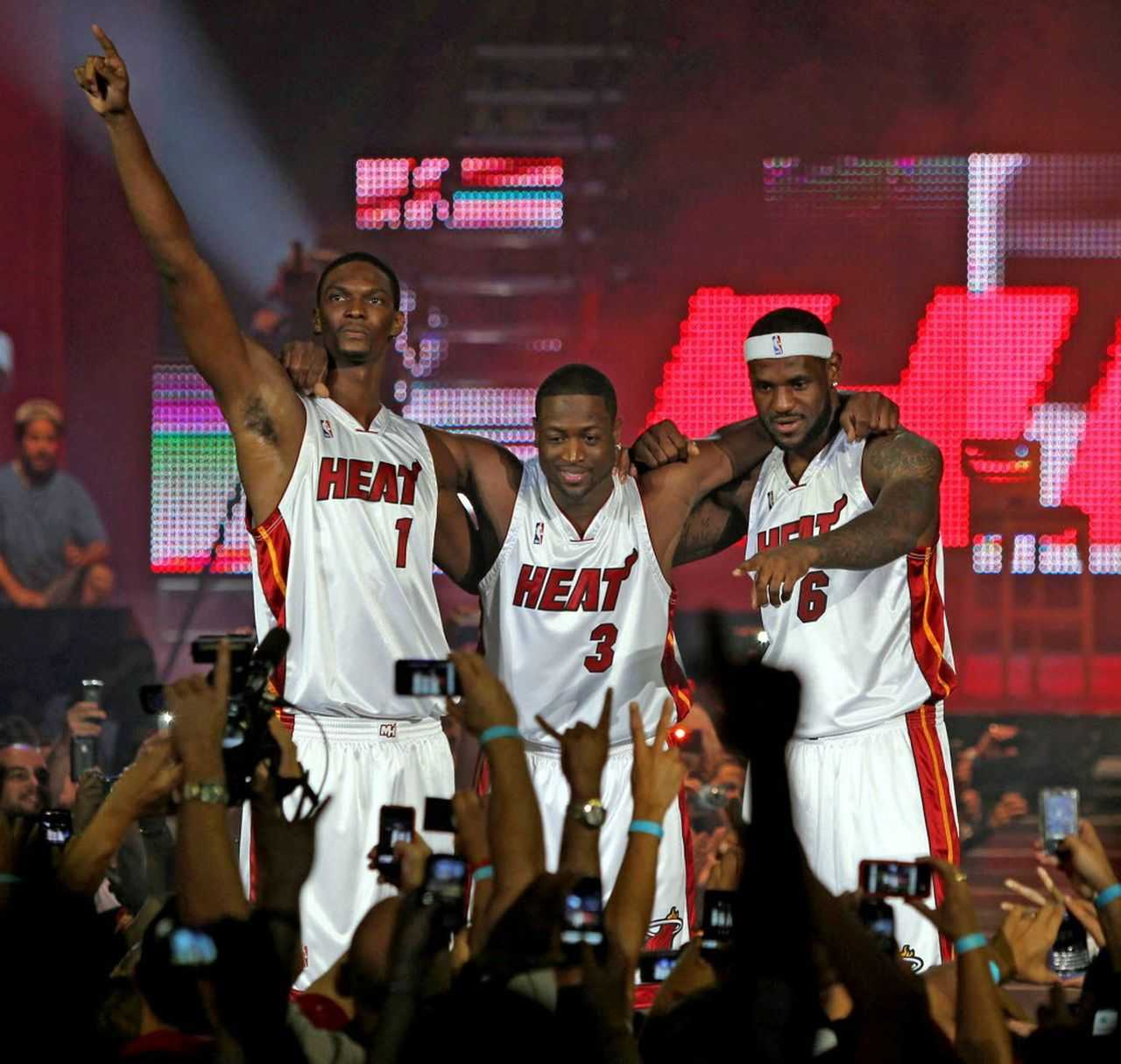"""LeBron James, Dwanye Wade, and Chris Bosh at the """"not 1, not 2, not 3"""" rally."""