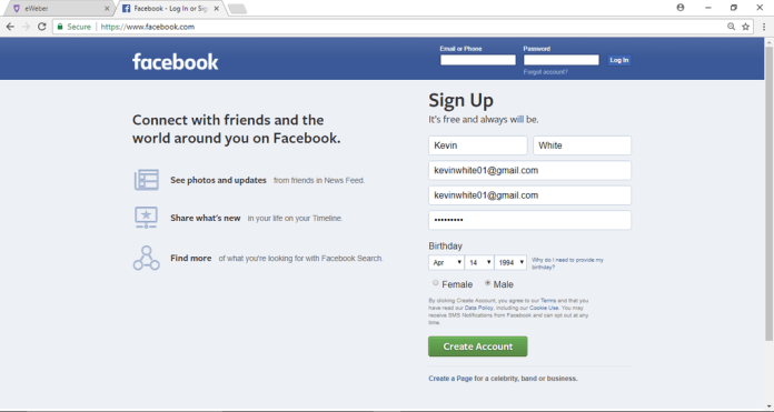 Create Facebook Account | Facebook Sign Up - Facebook Login