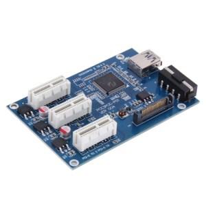 PCI-E 1 tot 3 PCI Express 1 Slots Riser Card 3 PCI-E Slot Adapter PCI-E Port Multiplier Card met 60 cm USB-kabel (blauw)