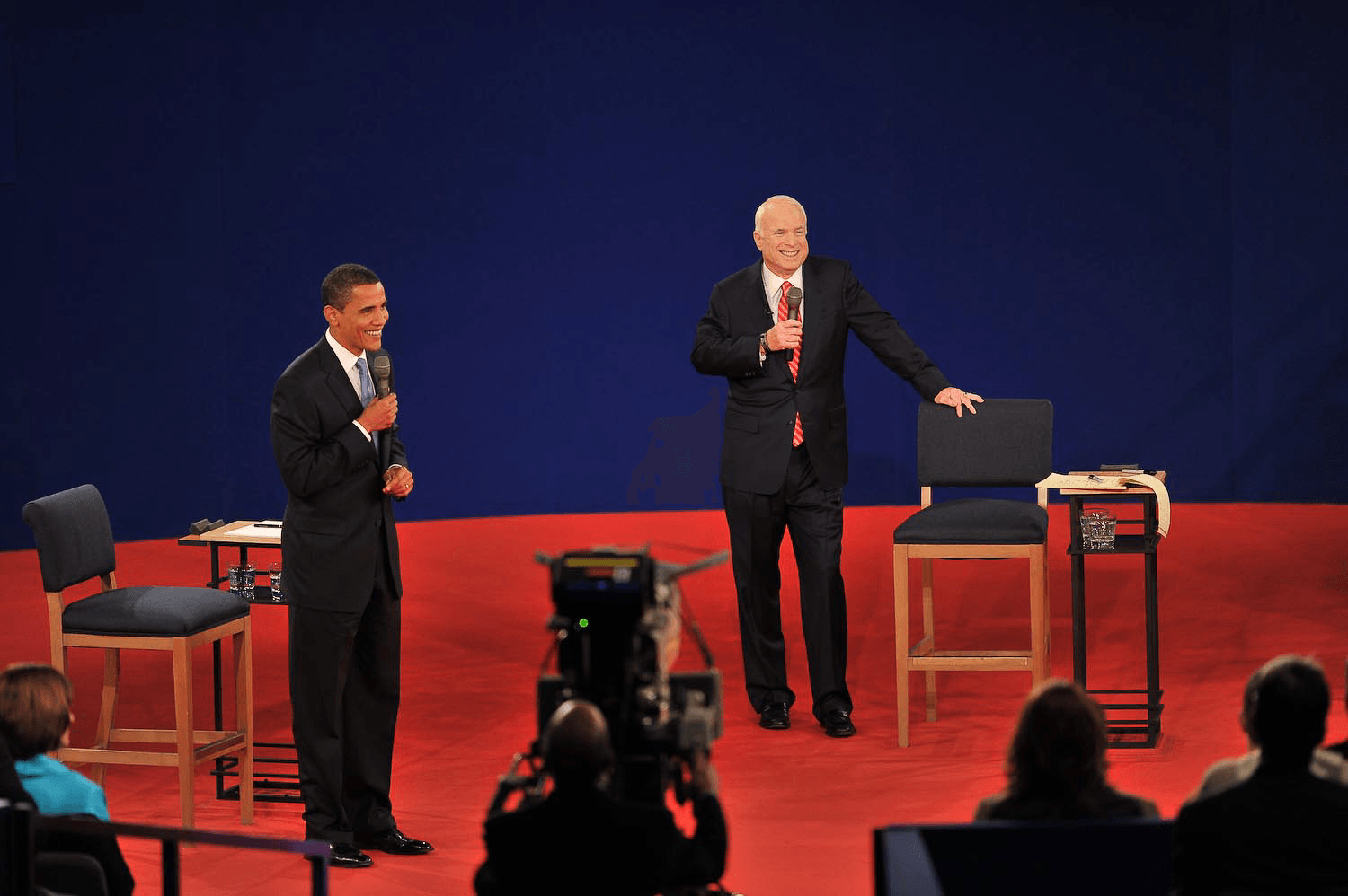 Candidates Barack Obama and John McCain square off during Belmont's 2008 town hall presidential debate