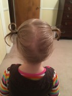 "hair is long enough for ""piggy tails""!"