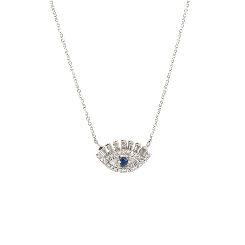 Baguette Diamonds + Sapphire Eyelash Necklace White Gold