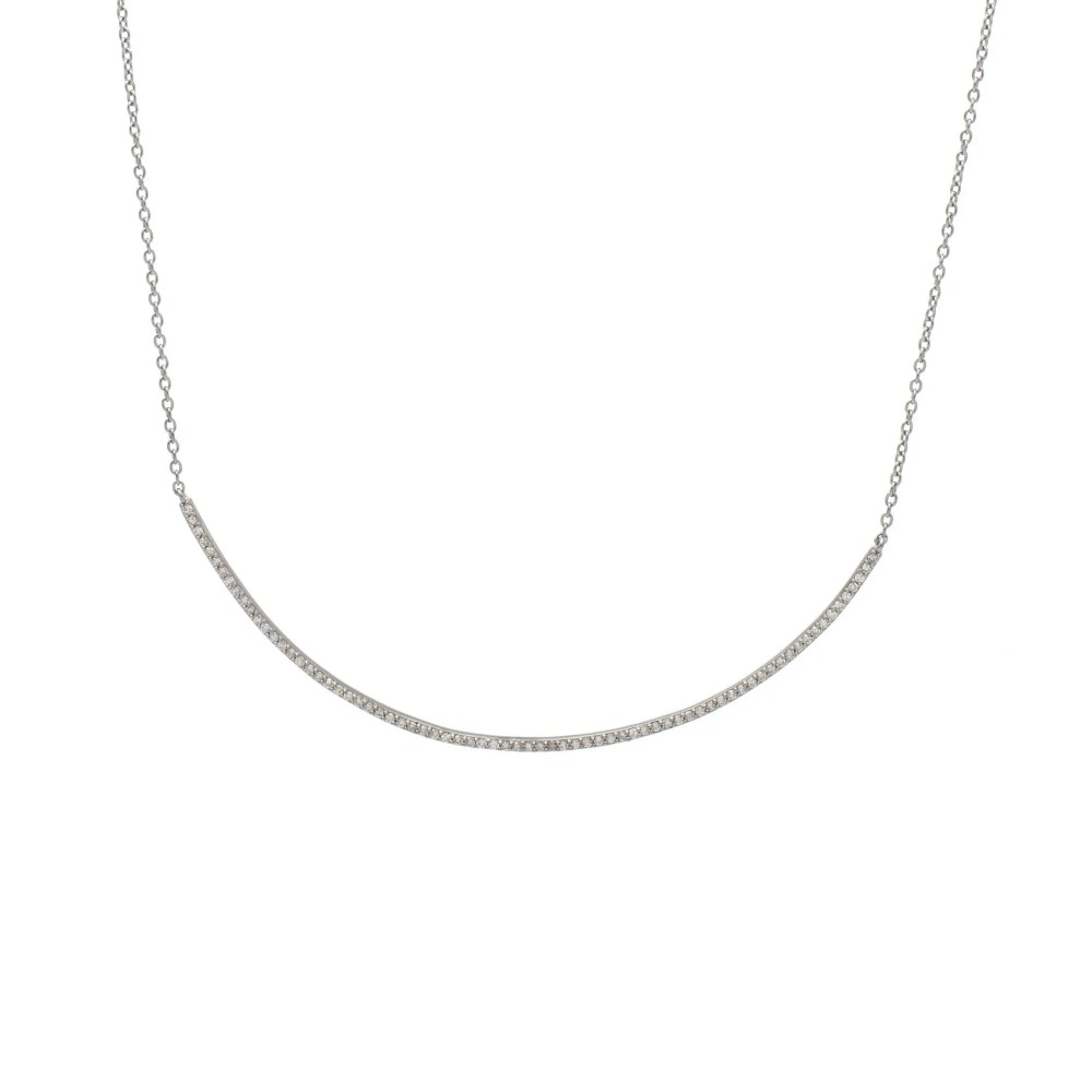 Diamond Curved Bar Necklace Sterling Silver