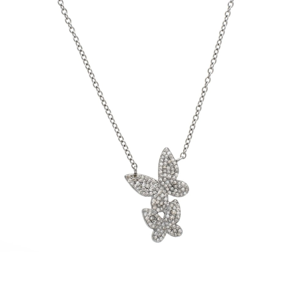 Diamond Double Butterfly Necklace Sterling Silver