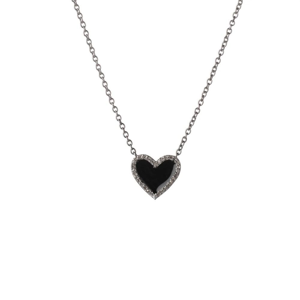 Diamond Mini Black Enamel Heart Necklace Sterling Silver