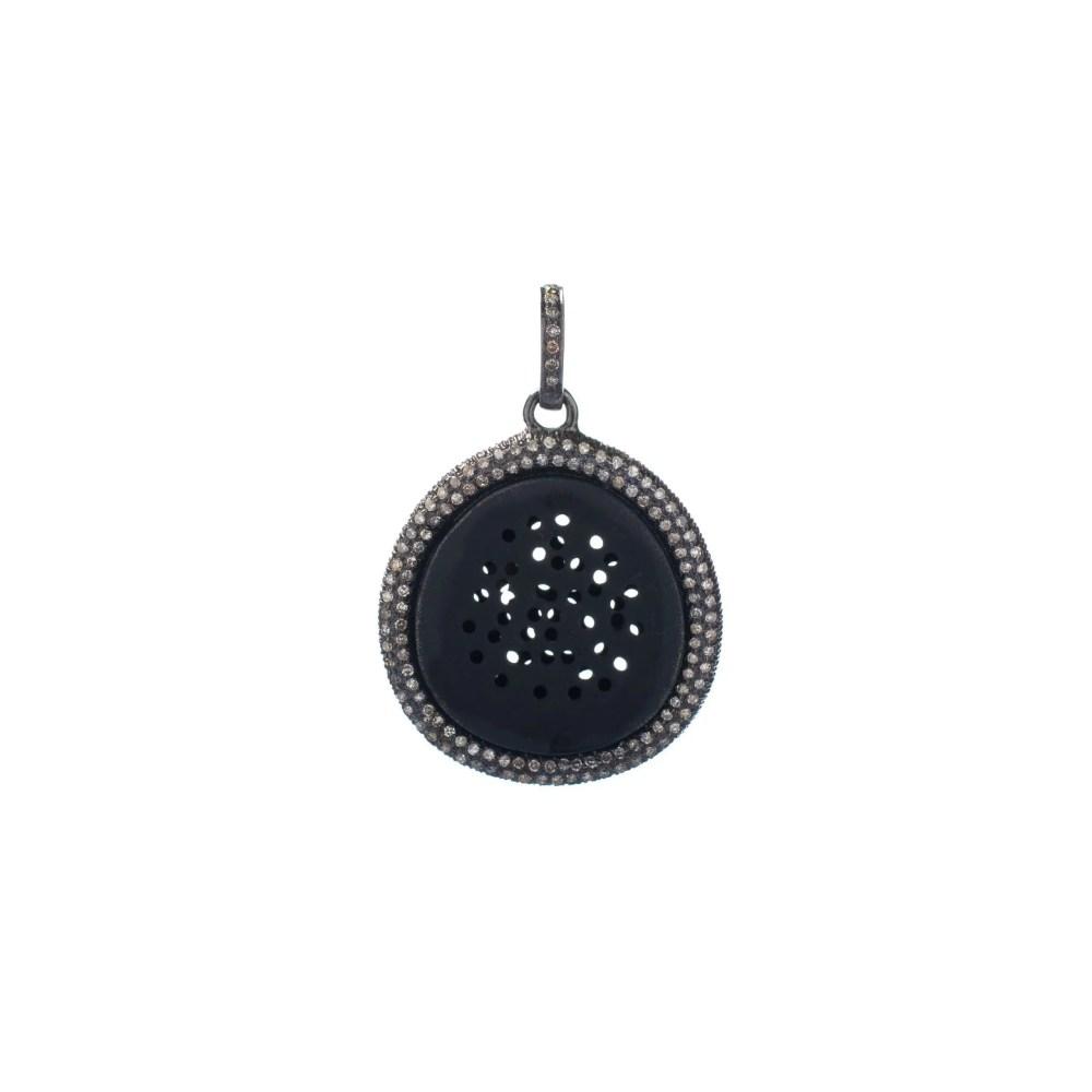Diamond Pinhole Disc Charm Sterling Silver