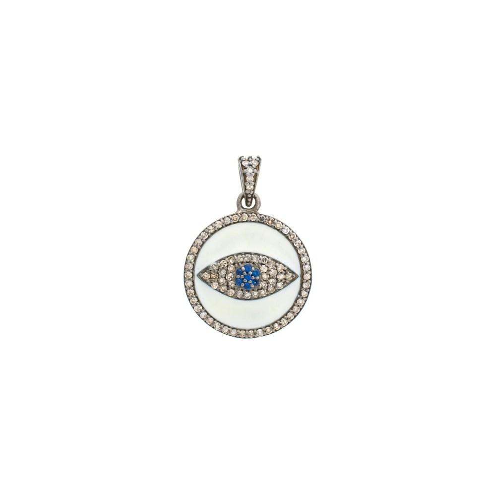 Diamond White Enamel Evil Eye Charm Sterling Silver