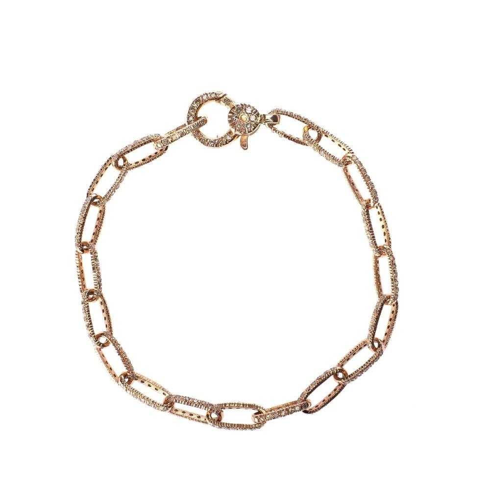 Diamond Link Bracelet with Diamond Clasp