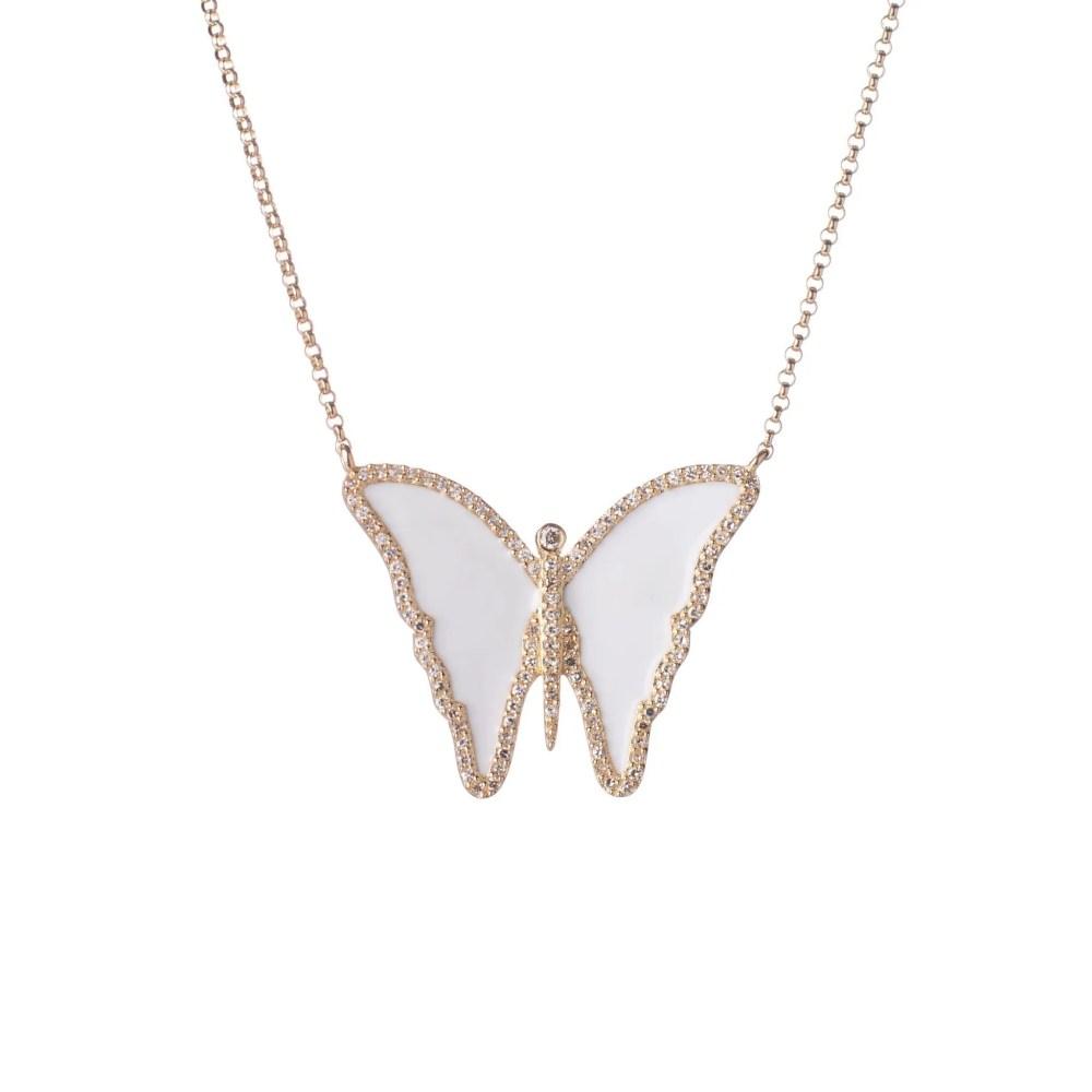 Diamond White Enamel Butterfly Necklace