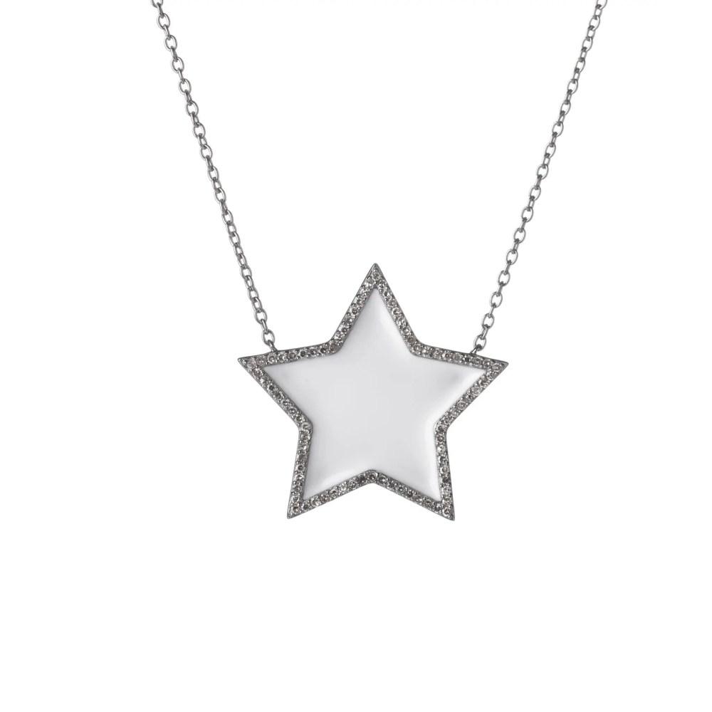 Diamond Super Star White Enamel Necklace