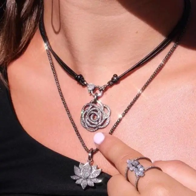 Large Diamond Rose Pendant
