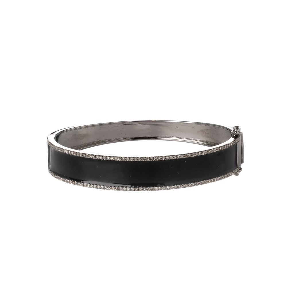 Diamond Enamel Bangle Bracelet