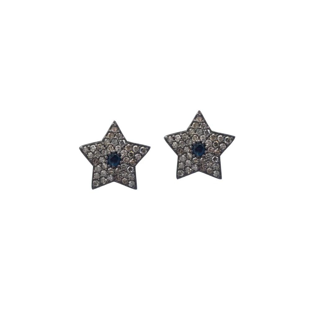 Diamond Star with Sapphire Studs