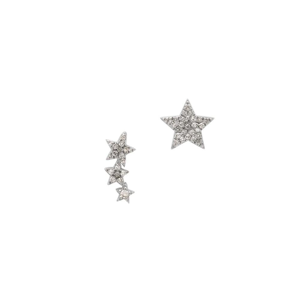 Diamond Stars Duo Studs Sterling Silver