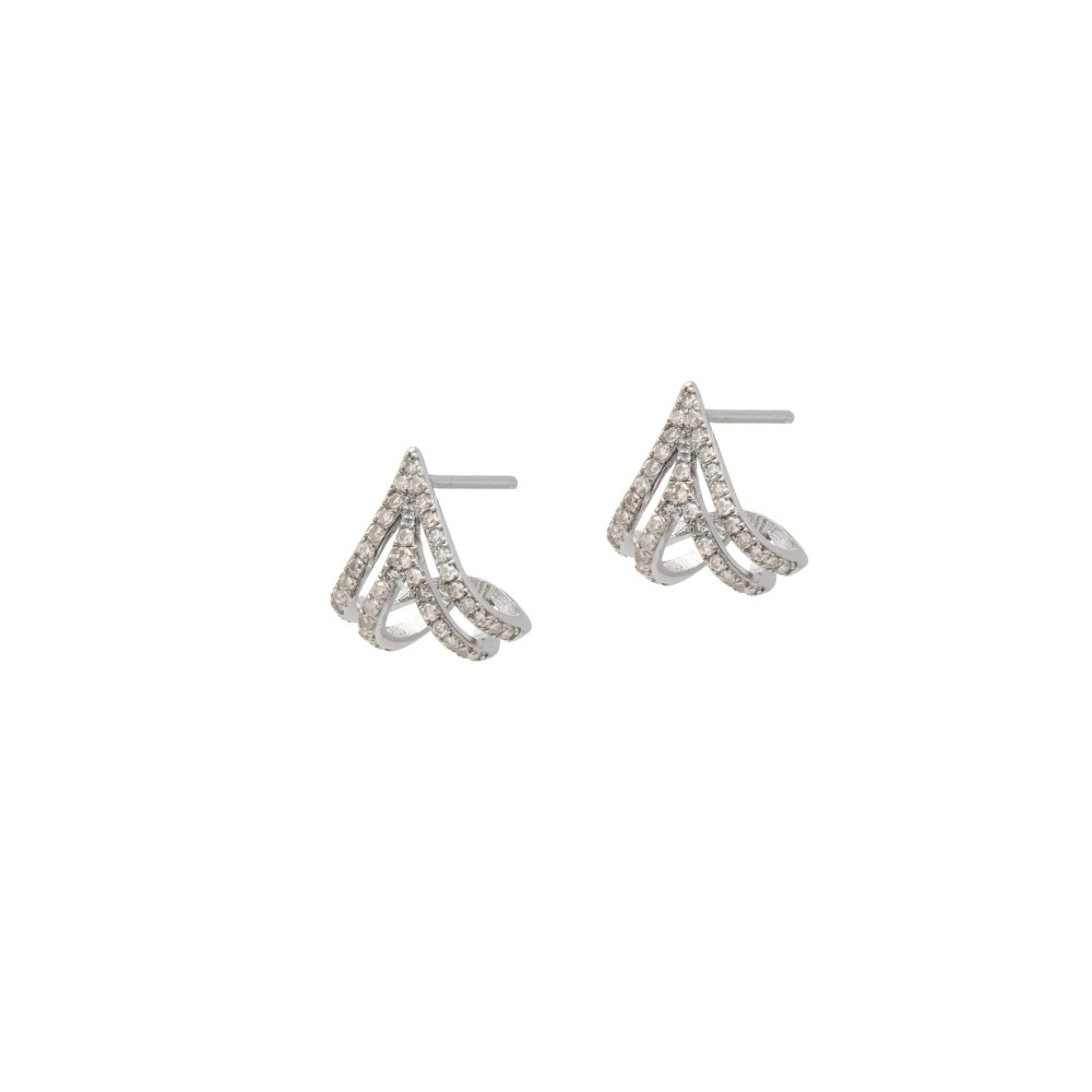 Diamond Triple Huggie Studs Sterling Silver