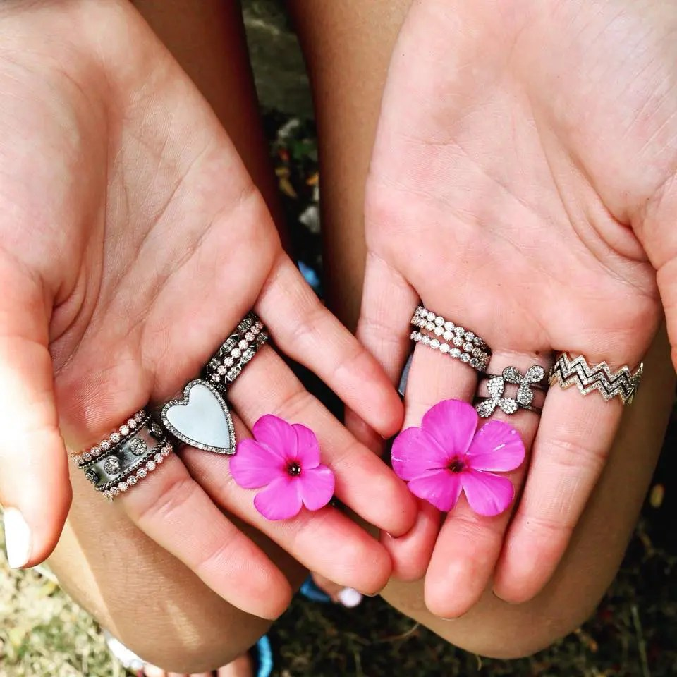 Double Daisy Open Band Ring