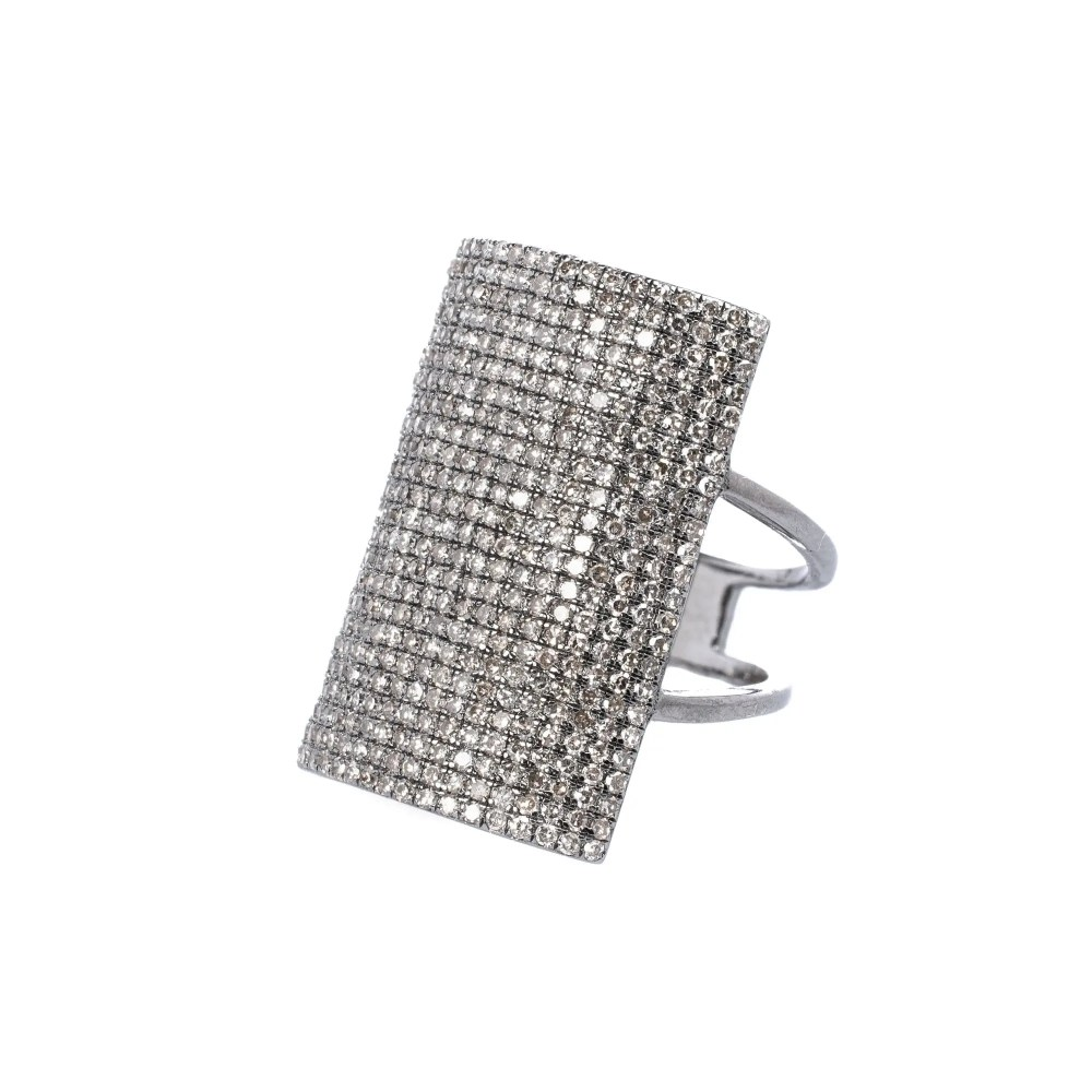 Large Rectangle Diamond Ring