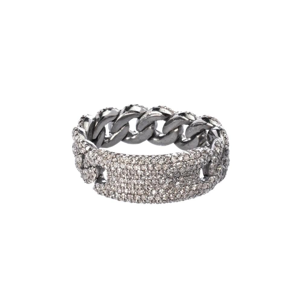 Diamond ID Chain Link Ring